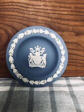 Wedgwood Blue Made In England Mini Plate Aqvae Svlis Stamped Ah 4.5� Crest