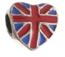BANDIERA Union Jack Regno Unito CUORE CHARM BEAD per BRACCIALE/COLLANA