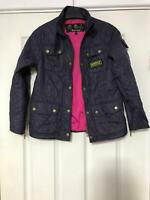 Barbour Purple Jacket Size 8/9years Girls Great Condition (D595)