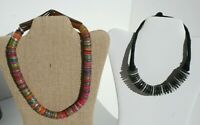 Vintage Disc Multicolor Discs Necklaces Wood Statement Necklace