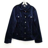 New Chicos Womens Plush Blue Velvet Zip Moto Trucker Jacket Sz 3 US 16 / 18