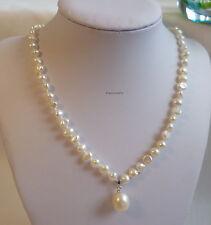 Genuine freshwater pearl  6mm baroque necklace+11-12mm drop pendant L45cm WHT