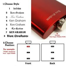E-Volve Personalised Laser Burned Hip flask 6 oz stainless steel -Brushed Red