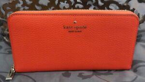 Kate Spade ~LEILA Large Leather Continental Zip Around Wallet~ORANGE~NWT $229