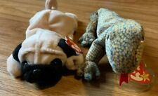 Collection of Ty Beanie Babies - Scaly the Lizard & Pugsly the Pug Dog