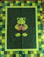 Frog Quilt Blanket Green Applique Hand Tied Bedspread Throw 45x58 Inches