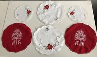 Vintage Lot 6 Christmas Washable Cloth Coaster Placemats Embroidered Table Mats
