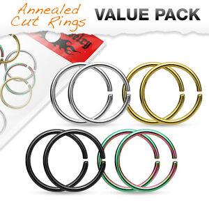 8pc Value Pack Cartilage Tragus Septum Nose Hoop Ring Rook Daith Helix Tragus