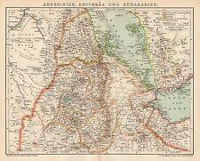 B6371 Abissinia - Eritrea - Sud Arabia - Carta geografica antica - 1904 old map