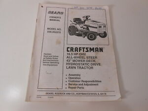 "Owner's Manual Sears Craftsman 16.5 HP Lawn Tractor 43"" Mower  Model 536.252570"