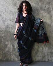Women Hand Block Printed Cotton Sari Mulmul Saree With Blouse Piece Free Shipp