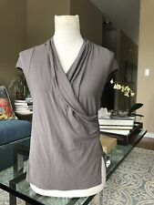 Theory Jersey Faux Wrap Top Cap Sleeve Brown Small Excellent