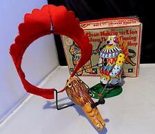 Vintage Tin Wind-Up Clown Making Lion Jump Thro Flaming Hoop, T.P.S. Japan, EXiB