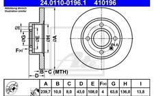 ATE Juego de 2 discos freno 239,7mm para FORD FIESTA ESCORT COURIER