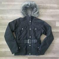 The North Face Women's Insulated Jacket Fur Belt Size Medium Black Parka