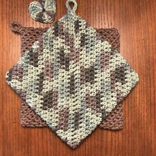 New listing Potholders Hot Pads 100% Cotton Dual Layered Handmade Crocheted Set of Two