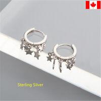 Pair Star Pendant Hoops Earrings Women 925 Sterling Silver Pentagram ear studs