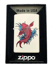 Zippo Custom Lighter Japanese Koi Fish Swimming Regular Cream Matte New Gift USA