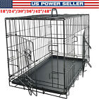 Dog Crate Kennel Extra Large 48 Folding Pet Cage Metal w/ 2 Doors &Tray 42 24
