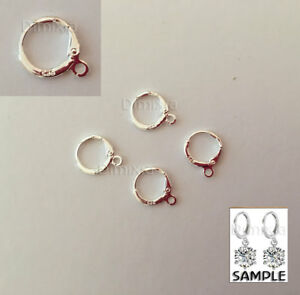 925 Stamped Sterling Silver Earring French Leverback Finding Loop Round OpenRing