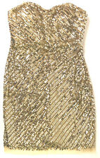 ADRIANNA PAPELL EVENING Champagne Gold Sequined Party Dress Sheath Strapless