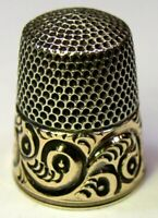 """Antique Simons Bros. Gold Band Sterling Silver Thimble  Scrolls  """"L M S""""  C1880s"""