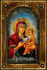 Handmade Wooden Greek Orthodox Icon Painting Canvas Virgin Mary Jesus Christ M1