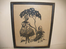 Antique 19THc American Folk Art Cut Paper Silhouettes Portraits love man women