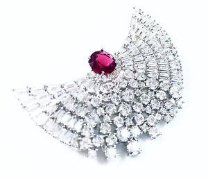 BROOCH made with Swarovski Crystal PIN Wedding Bridal CZ Red Corundum