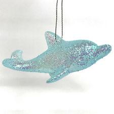 SEASIDE AQUA GLITTER | Dolphin Christmas Ornament Ocean Irridescent