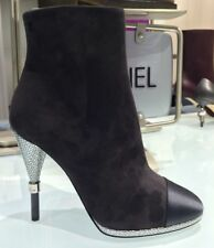 a9d66b7827e New Listing2016 CHANEL GRAY SUEDE LEATHER SATIN CAPTOE BOOTIES SILVER HEEL  SIZE 36