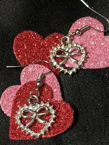 Betsey Johnson Heart Earrings Surgical Steel Hook Dangle Bow White Crystals