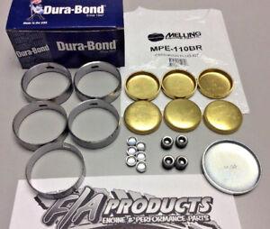 Ford FE 390 428 Engines Dura-Bond F33 Cam Bearings & Melling Brass Soft Plug Kit