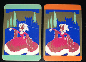 Playing Swap Cards 2 Vintage Deco Gold Glamour Lady Headwear Pair
