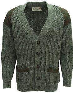 Chunky knit leather b/ton cardigan   Harris Tweed patch   British Wool   # 41119