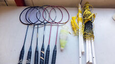 Used Badminton Set, poles, racquets, stakes, birds - missing some leg segments
