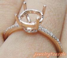 Semi Mount 8mm Round Fashion Design Solid 14K Rose Gold Ring Engagement Wedding