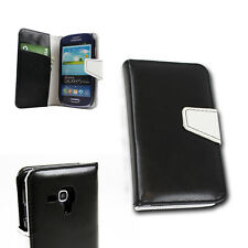 WALLET CASE COVER FLIP MAGNETIC PU LEATHER BLACK SAMSUNG GALAXY S3 MINI I8190