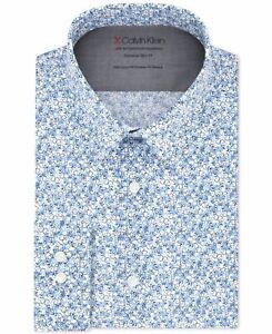 Calvin Klein Mens Dress Shirt Blue 16- 16 1/2 Abstract Print Slim Fit $79 #472