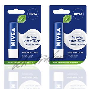 Nivea Caring Lip Balm Long Lasting Moisture Original Care with Jojoba Oil 2 Pack
