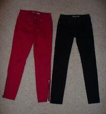 "2 Pairs Aeropostale Juniors ""Lola"" Jegging Skinny Jeans Sz 00 Reg (Black & Red)"