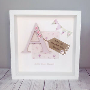 Personalised New Baby, Birth, Boy & Girl Letter Frames Gift Shabby Chic