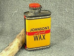 VINTAGE JOHNSON`S LIQUID WAX TIN CAN RED WIRE CAP 1/3 PINT COPYRIGHT 1937