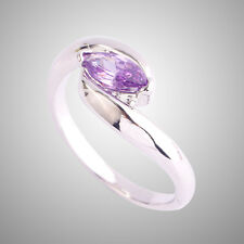 Amethyst Gemstones Delicate Silver Ring Gift Marquise Cut Solitare Gemstone