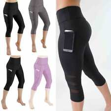 Womens Capri Yoga Leggings With Pocket Gym Fitness Athletic Sportswear Pants
