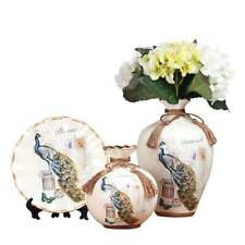 Ceramic Peacock Vases, Chinese Vase Home Decoration China Vase 3 in Set - White