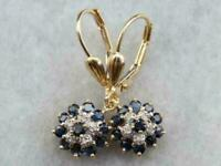 2.50Ct Blue Sapphire & Diamond Cluster Drop/Dangle Earrings 14K Yellow Gold Over