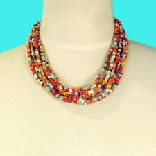 """16"""" Multi Strand Red Multi Color Handmade Seed Bead Statement Necklace"""