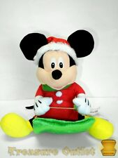 Gemmy Disney Stuffed Plush Christmas Mickey Mouse Animated Wobblin Toboggan Sled