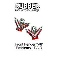 1954 1955 1956 Ford Front Fender V8 Emblems - pair